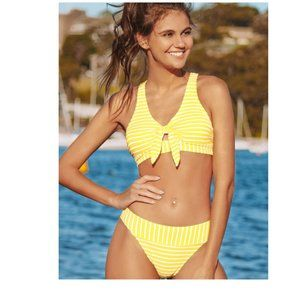 CUPSHE YELLOW WHITE STRIPED FRONT TIE BIKINI SET M